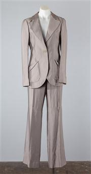 Sale 8685F - Lot 87 - An Emporio Armani dove grey viscose-blend suit jacket and pants,  Italian made, size TG. 40 and 42 respectively