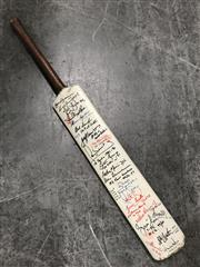 Sale 8805A - Lot 818 - Signed Souvenir Bat, holding 36 autographs, often noting their achievements, notably Brown, Stackpole, Taylor 334*, Ian Chappell,...