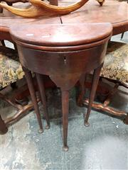 Sale 8848 - Lot 1032 - Early Georgian Style Walnut Demi Lune Table, of small proportioning with hinged top (loose), on gate-leg club legs with pad feet