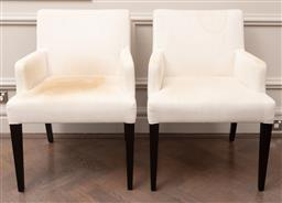 Sale 9130H - Lot 36 - A pair of custom chairs in ivory linen designed by Michael Love (for reupholstery), Height of back 85cm x WIdth 60cm x Depth 62cm