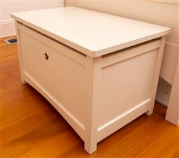 Sale 9150H - Lot 168 - A cream painted timer toy box, Height 51cm x Width 80cm Depth 50cm