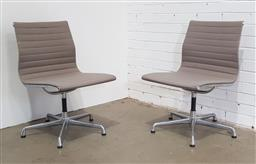 Sale 9188 - Lot 1177A - Pair of Eames Aluminium Group chairs in taupe fabric for Herman Miller (h:86 x w:53 x d:56cm)
