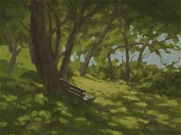 Sale 9170 - Lot 564 - ROSS HARVEY (1949 - ) Sunlight With Shadow, Cremorne, 1986 oilon board 29 x 39 cm (frame: 45 x 55 x 4 cm) signed and dated lower right