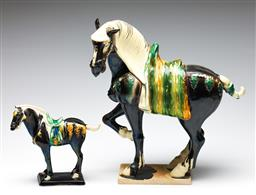 Sale 9253 - Lot 9 - A large Tang style horse and a smaller example (H: 41cm & 20cm)
