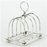Sale 8239 - Lot 49 - English Hallmarked Sterling Silver Victorian Five Bar Toast Rack