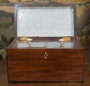 Sale 8435A - Lot 47 - A Georgian mahogany tea caddy with ivory escutcheons and turned handles revealing a lined interior, W 22cm