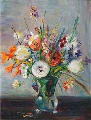 Sale 8475 - Lot 554 - Margaret Coen (1913 -1993) - Still Life -Flowers 49.5 x 39.5cm