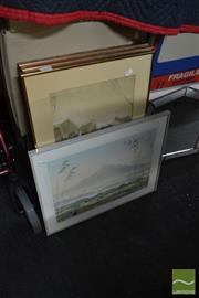 Sale 8471 - Lot 2095 - 4 Oriental Prints & 2 Leadlight Framed Mirrors
