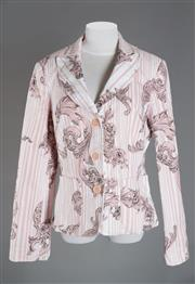 Sale 8493A - Lot 12 - A Moschino denim jacket in pink and white with acanthus design, size 12