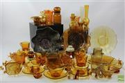 Sale 8505 - Lot 4 - Amber and Carnival Glass Collection inc Small Animals