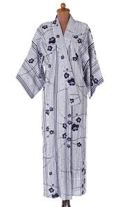 Sale 8550F - Lot 141 - A vintage cotton Jukata kimono, in blue and white with design of bamboo and cherry blossom.
