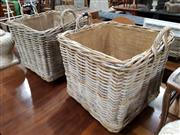 Sale 8740 - Lot 1390 - Pair of Wicker Hampers with Canvas Interior on Castors