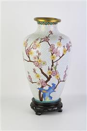 Sale 8783 - Lot 66 - Large Cloisonne Vase on Stand ( H 36cm inc Stand)