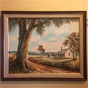 Sale 8878T - Lot 47 - Namikos, Oil Painting of Australian Homestead Scene Dimensions of Frame - 67.5cm x 55.5vm
