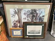 Sale 8888 - Lot 2093 - Hans Heysen Decorative Print together with A print After Richard Morrell depicting Freemantle c1800s and A Botanical Study (3)