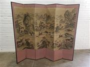 Sale 9085 - Lot 1081 - Chinese Painted Six Panel Screen, with Mongolian hunters in pursuit, in a mountainous landscape (h:175 x w:204cm)