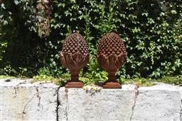 Sale 9135H - Lot 178 - A pair of cast iron finials. 50cm Height