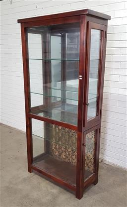Sale 9151 - Lot 1483 - Tall timber display cabinet with 4 sidedoors & mirror & fabric backboard  (h194 x w89 x d40cm)