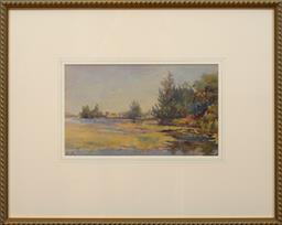 Sale 9150J - Lot 69 - HANS HEYSEN (1877 - 1968) View across water watercolour 17 x 29 cm signed lower left
