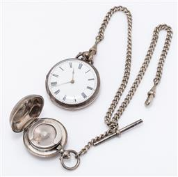 Sale 9180E - Lot 145 - A sterling silver encased pocket watch on chain with a sovereign case, Birmingham, c.1912 by Aaron Lufkin Dennison, total combined w...