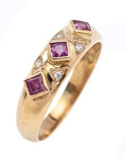Sale 9194 - Lot 562 - A 9CT GOLD RUBY AND DIAMOND RING; rub set with 3 carre cut rubies between 4 round brilliant cut diamonds, width 5.5mm, size M, wt. 2...