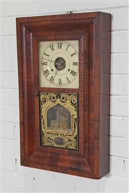 Sale 9215 - Lot 1069 - 19th Century Seth Thomas Walnut Wall Clock, with rectangular cross-banded case white painted dial & pendulum window printed with pol...