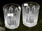Sale 8080A - Lot 94 - A Pair of Lalique 'Femmes Antiques' tumblers with a frieze of maidens. height 10cm