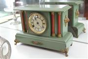 Sale 8086 - Lot 49 - Saunders Timber Cased Mantle Clock