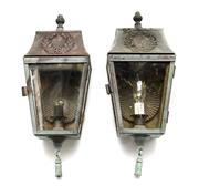 Sale 8202A - Lot 23 - A pair of early French copper wall lights or lanterns, with wreath decoration to top, H 35cm