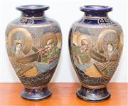 Sale 8308A - Lot 82 - A pair of Taisho Satsuma vases with panels depicting gods, each height 21.5cm