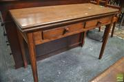 Sale 8317 - Lot 1060 - 19th Century Oak, Beech & Pine Gateleg Table, with fold-over top, two drawers & on square tapering legs (restoration & alteration)