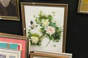 Sale 8332 - Lot 2054 - Artist Unknown - Bird and Flowers, acrylic on board, 59 x 44cm, signed lower right,