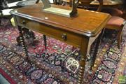 Sale 8359 - Lot 1019 - Late 19th Century Cedar and Pine Hall Table, with long drawer on turned bobbin legs (H 77 x W 97 x D 53cm)