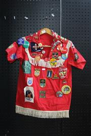 Sale 8346 - Lot 208 - Red Shirt Adorned in Vintage Badges & Patches