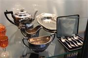 Sale 8369 - Lot 85 - Silverplated Four Piece Tea Set with Other Plated Ware Incl Trays and Teaspoons