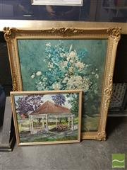 Sale 8544 - Lot 2059 - 2 Framed Artworks: Artist Unknown Games Oil, with a Floral Print