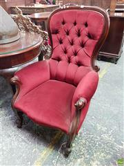 Sale 8559 - Lot 1055 - Pair of Victorian Gentlemens Armchairs, fully upholstered in red buttoned velvet & raised on cabriole legs