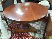 Sale 8634 - Lot 1033 - William IV Rosewood Pedestal Table, with round mahogany top, on triform base with casters
