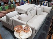 Sale 8740 - Lot 1044 - Custom Made Modular Sofa with Linen Upholstery