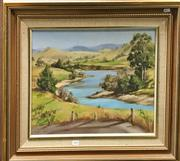 Sale 8794 - Lot 2040 - Merran Cork - The Barrington River oil on canvas on board, 62 x 72cm (frame), signed lower left