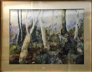 Sale 8797 - Lot 2059 - Terry Swann - Landscape with Gum Trees watercolour, 73 x 92cm (frame), signed lower right
