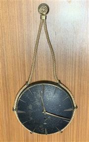Sale 9022 - Lot 1073 - Mid Century German Bronzed Pendant Wall Clock (h:53cm)