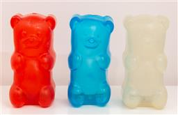 Sale 9150H - Lot 170 - A group of three gummy bear night lights in cream, red and blue, Height 18cm