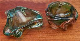 Sale 9099 - Lot 260 - A Pair of heavy freeform glass ashtrays, larger Width 20cm  some losses