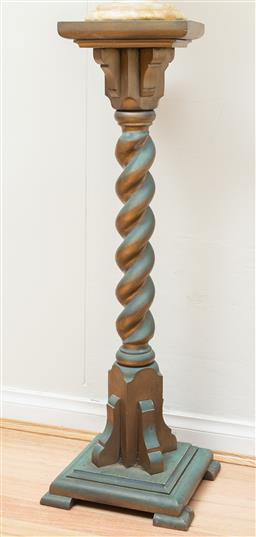 Sale 9165H - Lot 27 - A green & gold painted twisted column form plinth Height 106.5cm