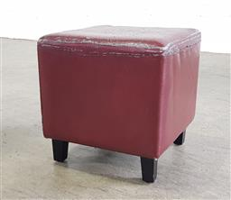 Sale 9255 - Lot 1086 - Leather weathered foot stool (h:36 w:36 d:36cm)