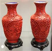 Sale 7969 - Lot 65 - Chinese Cinnabar Pair of Vases on Stands
