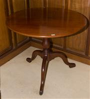 Sale 7981B - Lot 96 - An English Mahogany snap top circular table on a vase turned bird cage base with 3 shaped legs and pad feet. C. Late 1700's. D:830 x..