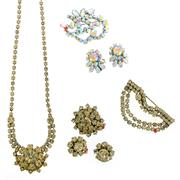 Sale 8134B - Lot 337 - TWO SETS OF VINTAGE DIAMANTE JEWELLERY; 2 necklaces, 4 brooches and 2 pairs of clip earrings.