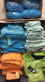 Sale 8310A - Lot 394 - Two boxes of various coloured towels, all sizes, including robes, aqua, orange, lime green, light blue